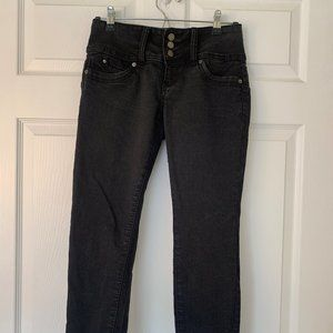 YMI Wanna Betta Butt Black Crop Jeans Size 7